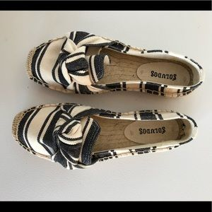 Soludos platform slipper black and white espadrill